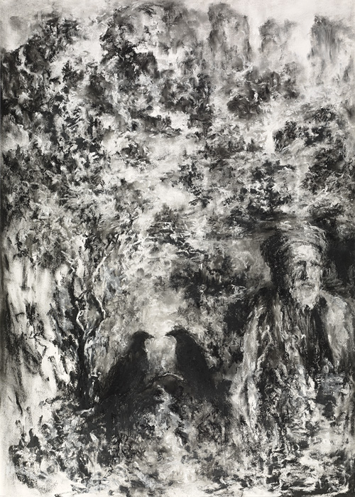 man and crow in charcoal